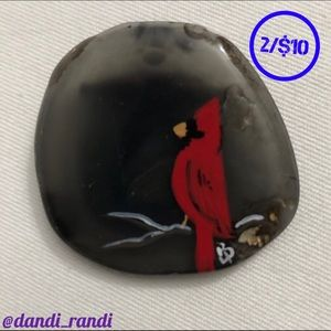 ⬇️ Painted Cardinal Stone Brooch